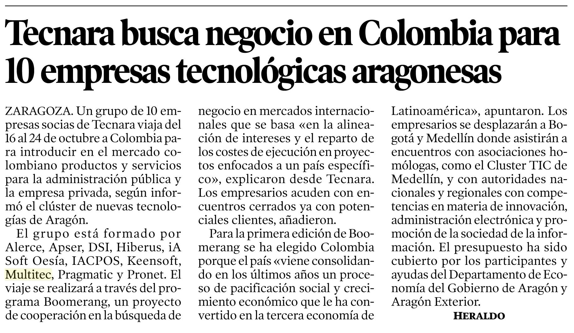 Nota en El Heraldo de Aragón sobre el acercamiento al mercado colombiano