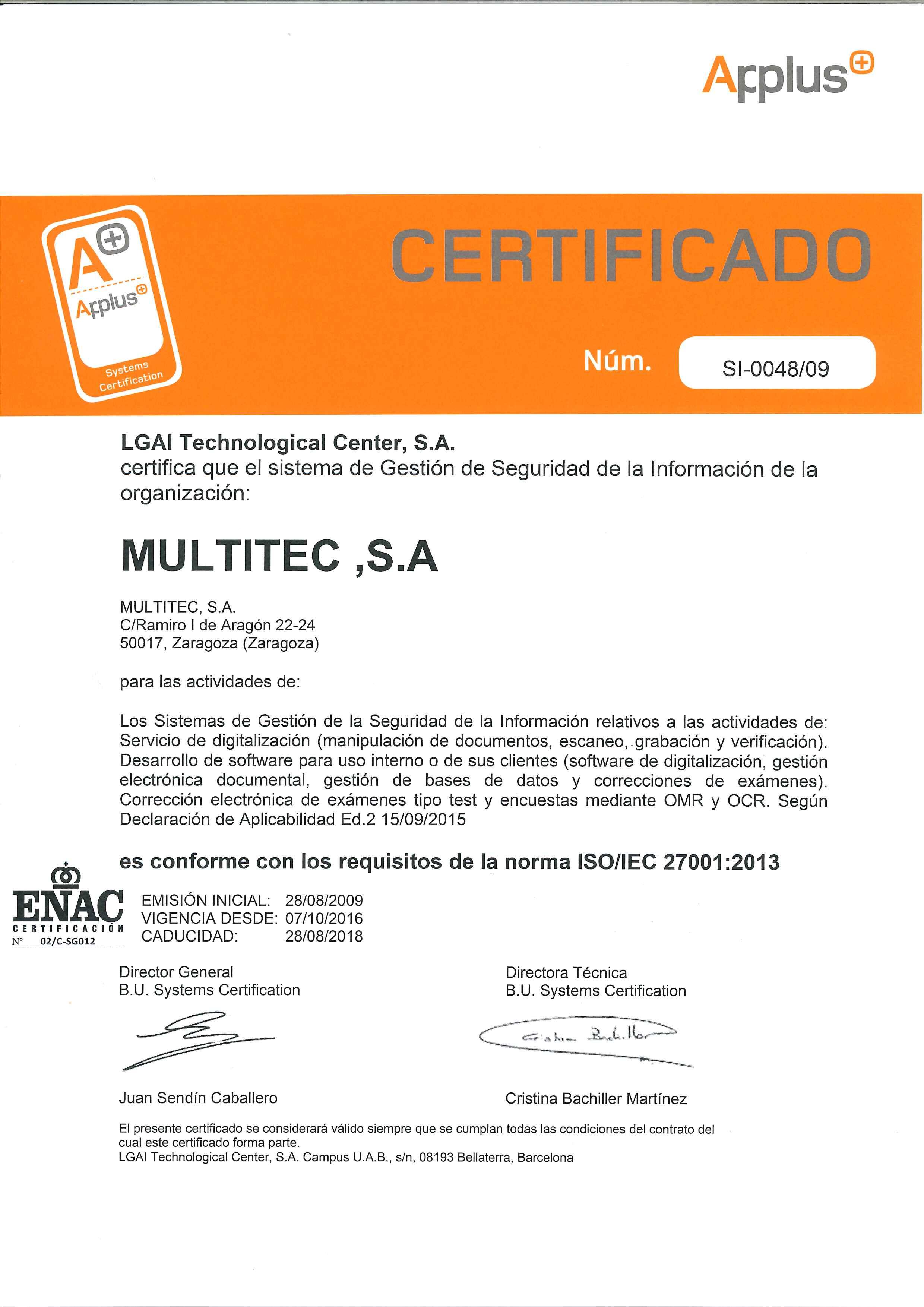 Certificado 2016 renovación ISO 27001 Multitec